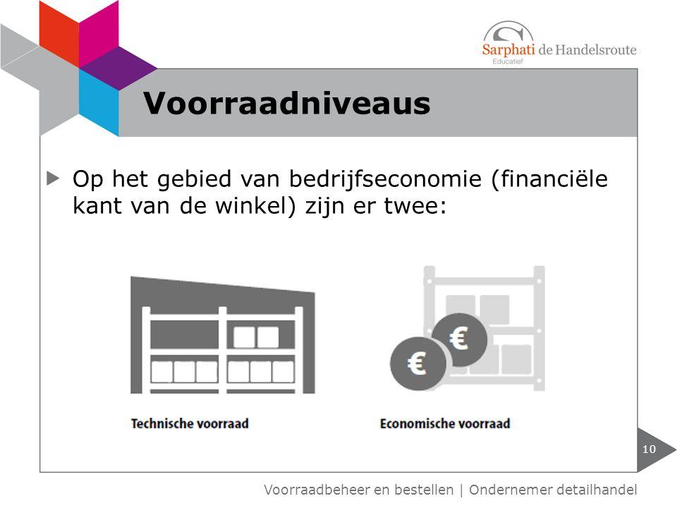 Voorraadniveaus Op het gebied van bedrijfseconomie (financiële kant van de winkel) zijn er twee: