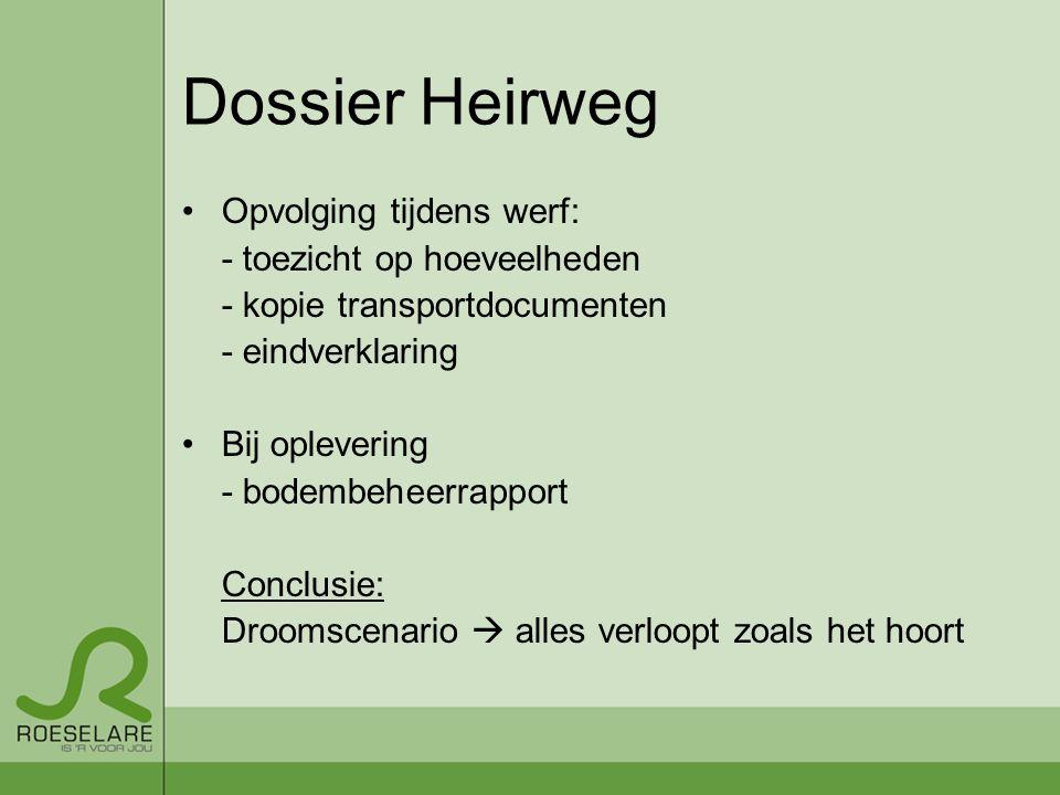 Dossier Heirweg Opvolging tijdens werf: - toezicht op hoeveelheden
