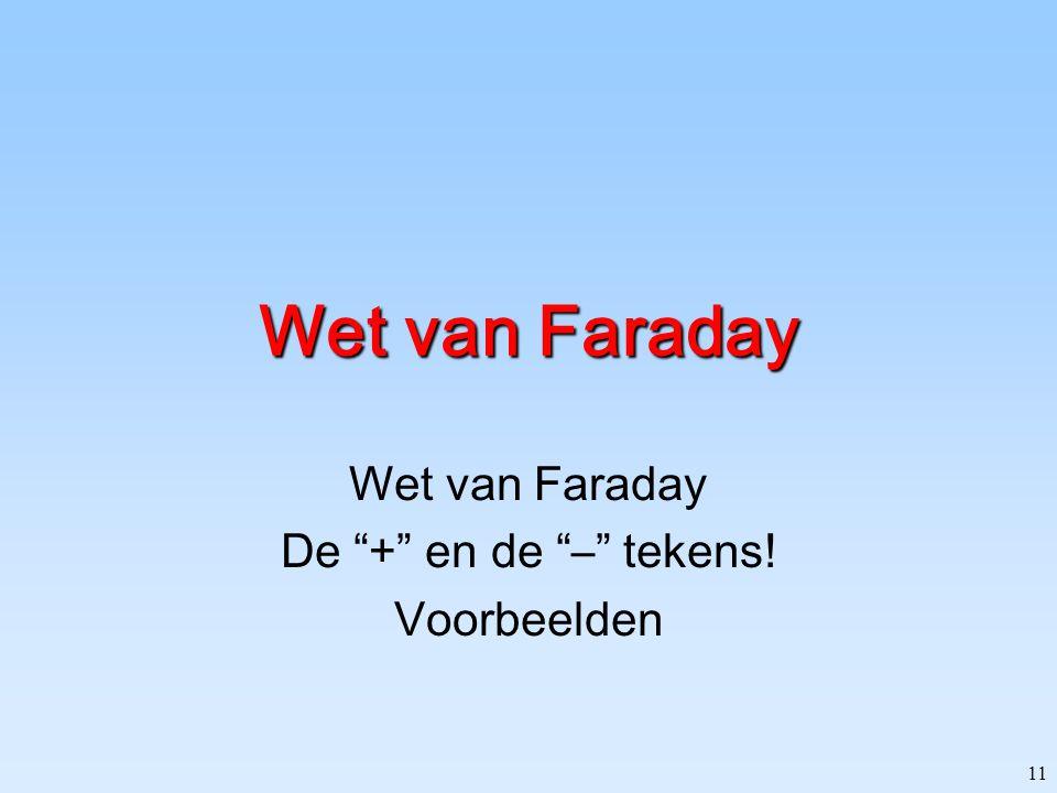 Wet van Faraday De + en de – tekens! Voorbeelden