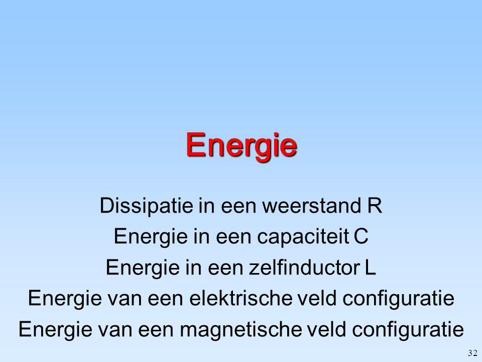 Energie Dissipatie in een weerstand R Energie in een capaciteit C