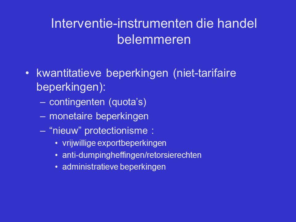 Interventie-instrumenten die handel belemmeren