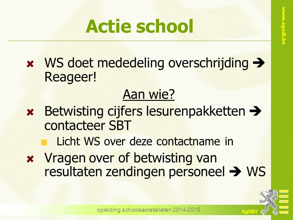opleiding schoolsecretariaten 2014-2015