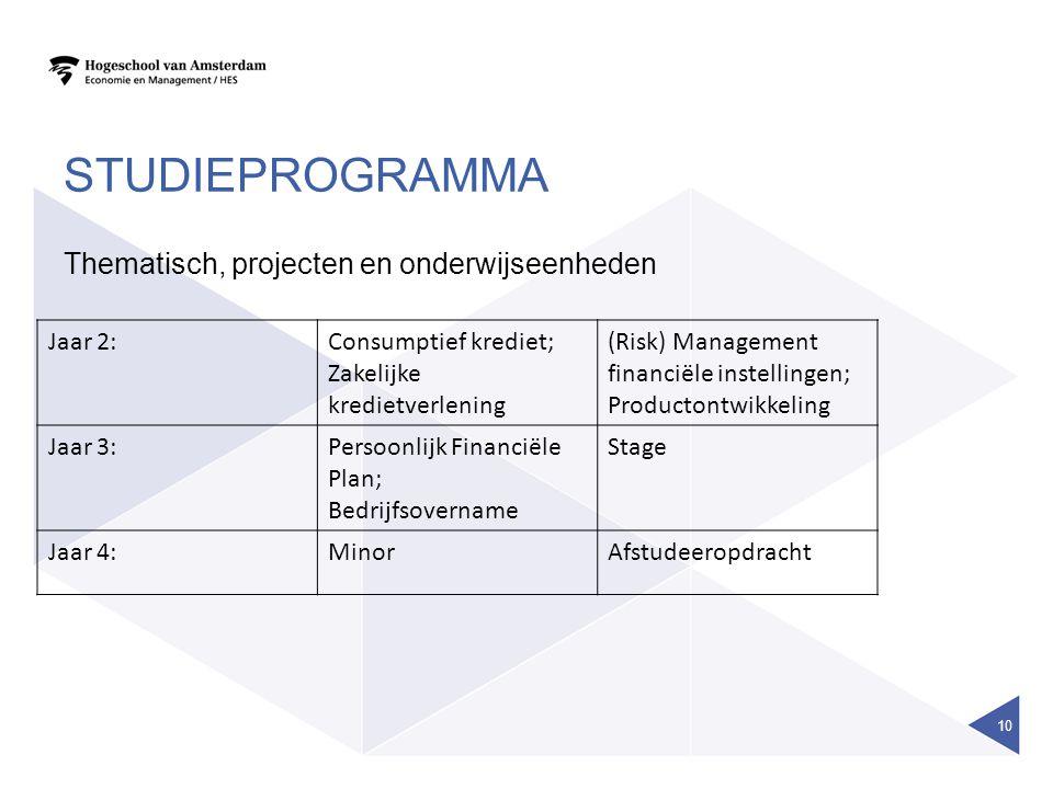 studieprogramma Thematisch, projecten en onderwijseenheden Jaar 2: