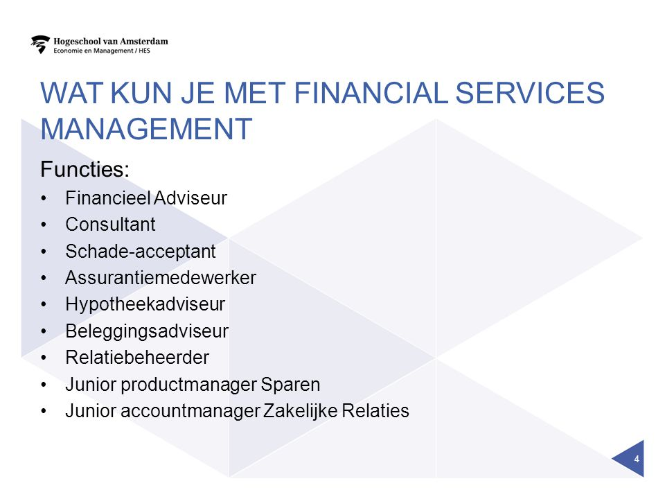 Wat kun je met Financial Services management