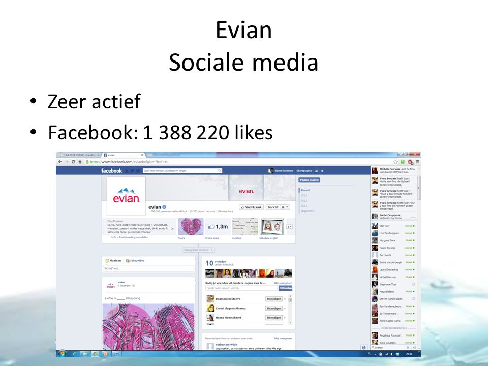 Evian Sociale media Zeer actief Facebook: 1 388 220 likes