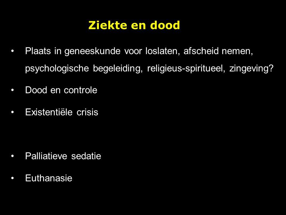 Ziekte en dood Plaats in geneeskunde voor loslaten, afscheid nemen, psychologische begeleiding, religieus-spiritueel, zingeving