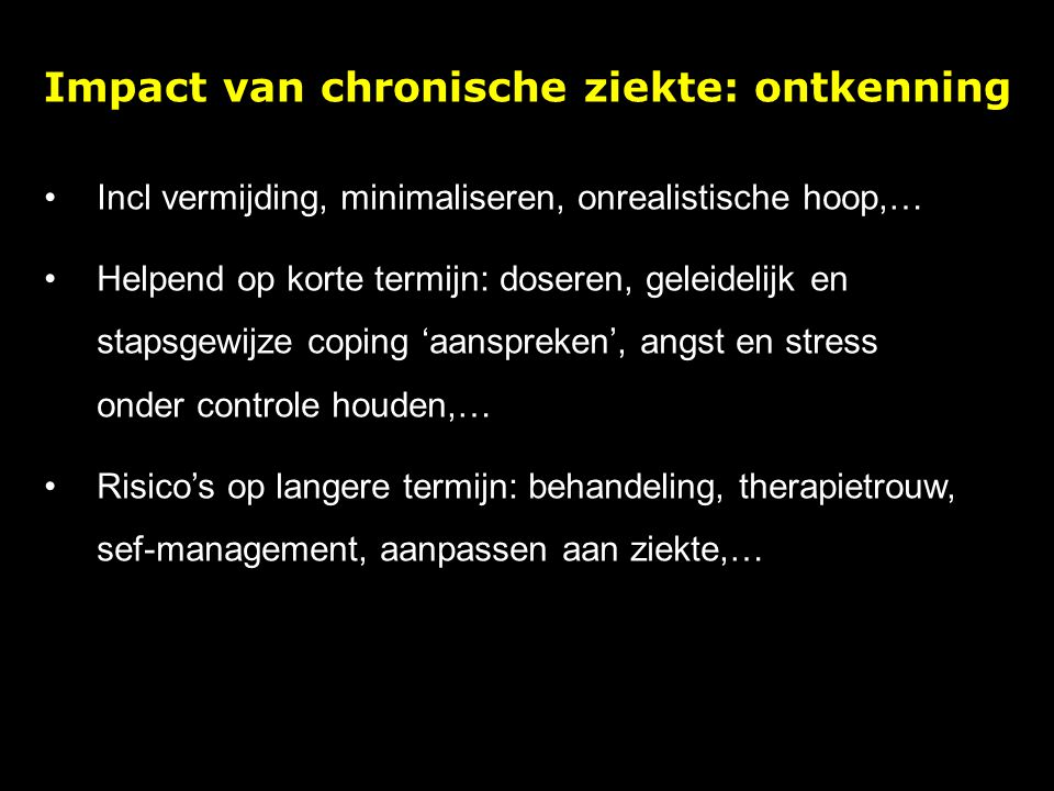 Impact van chronische ziekte: ontkenning
