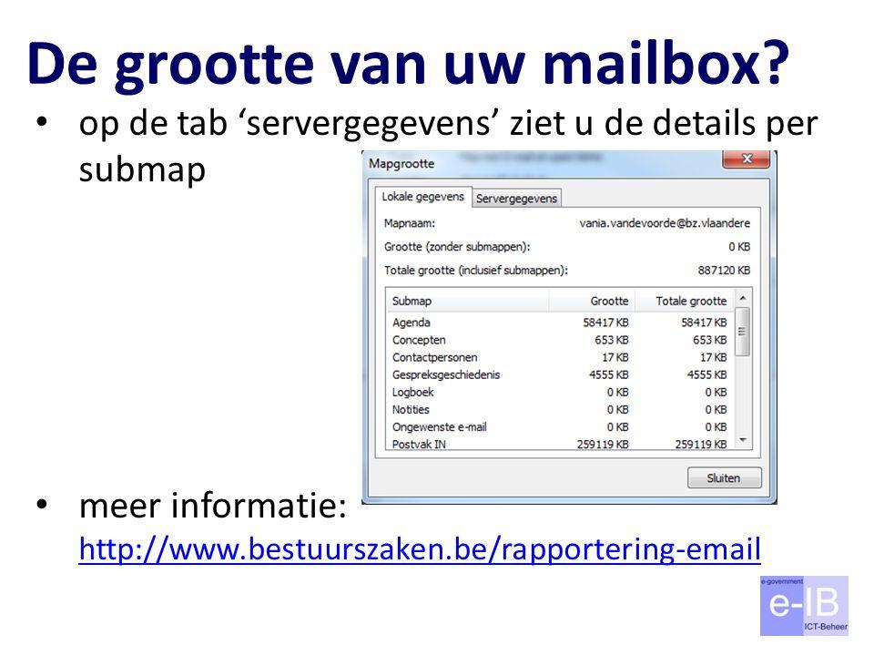De grootte van uw mailbox