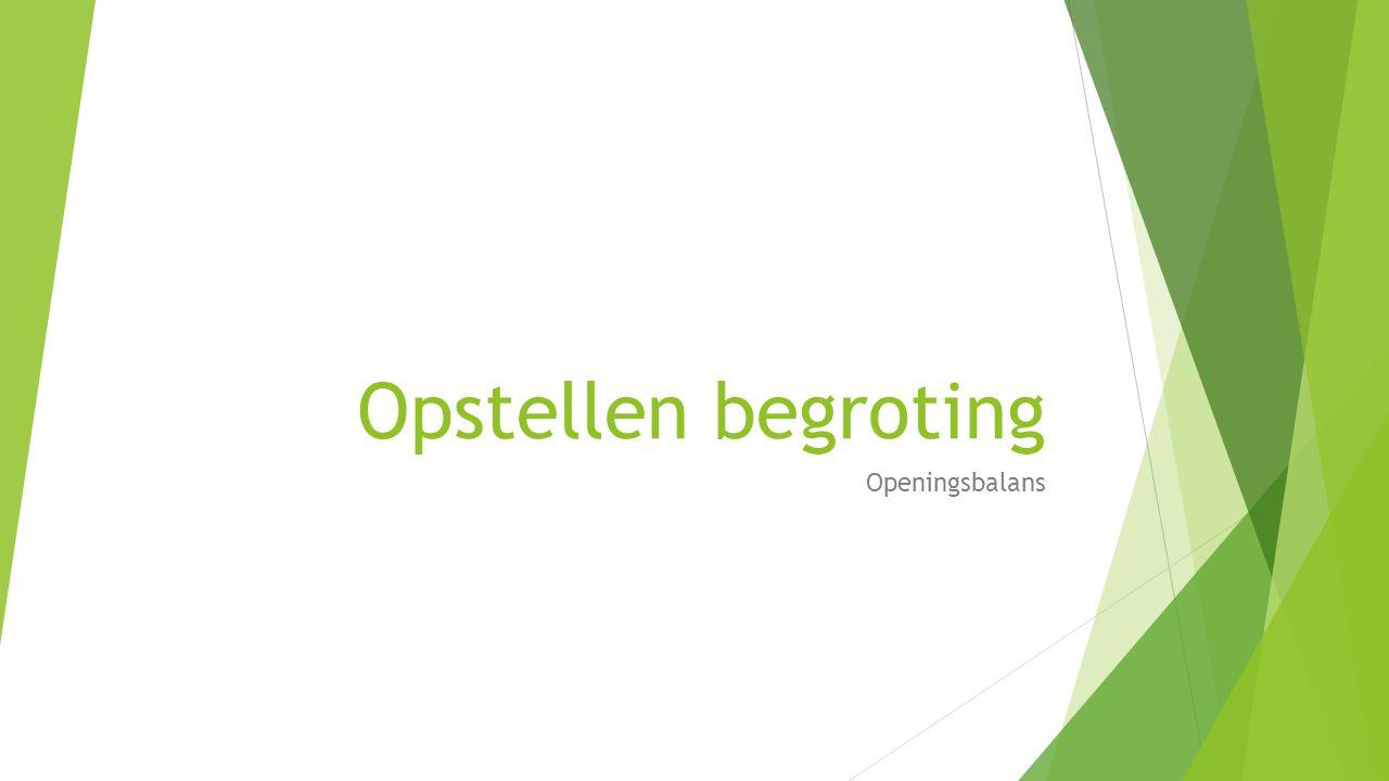 Opstellen begroting Openingsbalans