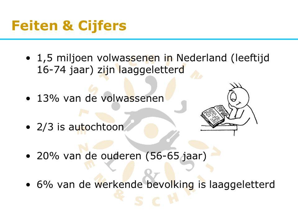 Feiten & Cijfers 1,5 miljoen volwassenen in Nederland (leeftijd 16-74 jaar) zijn laaggeletterd. 13% van de volwassenen.