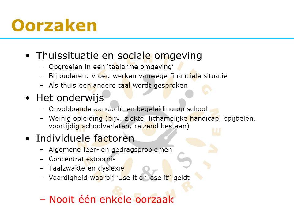 Oorzaken Thuissituatie en sociale omgeving Het onderwijs