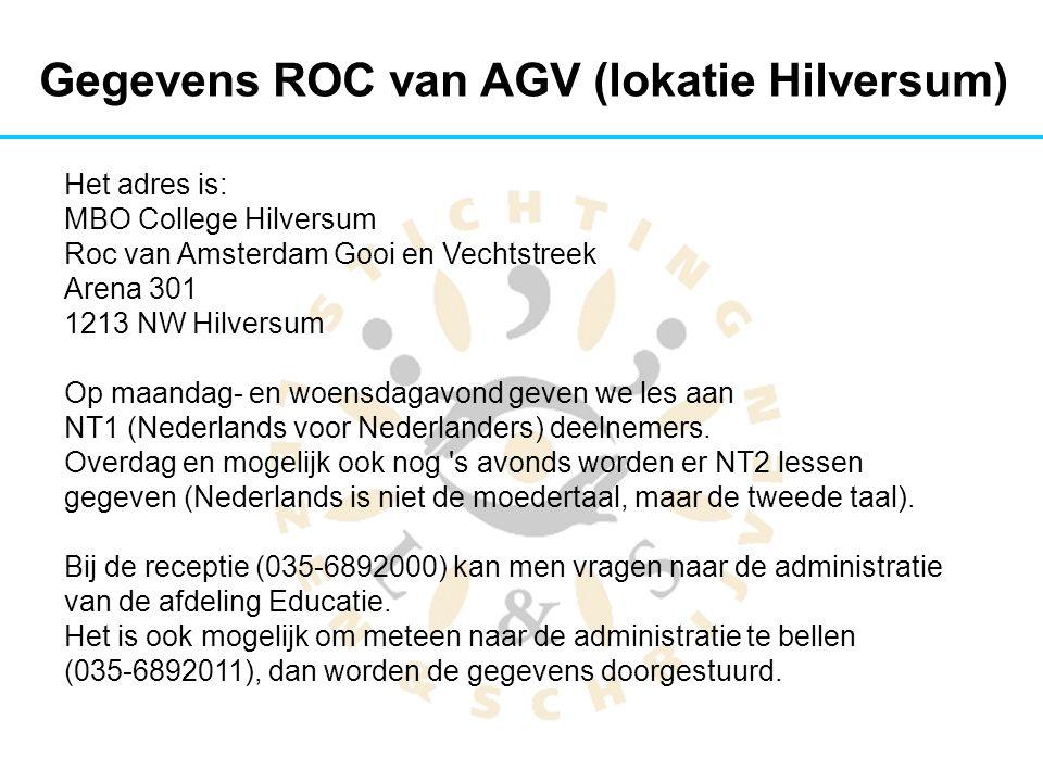 Gegevens ROC van AGV (lokatie Hilversum)