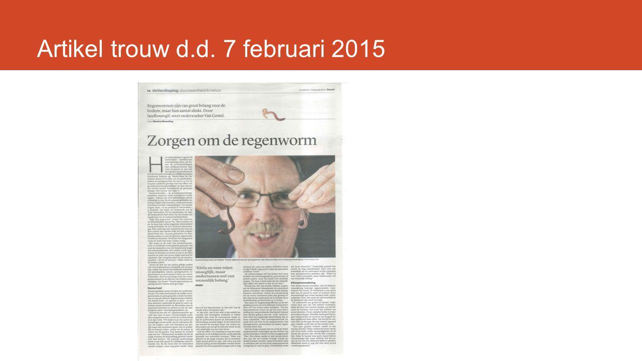 Artikel trouw d.d. 7 februari 2015