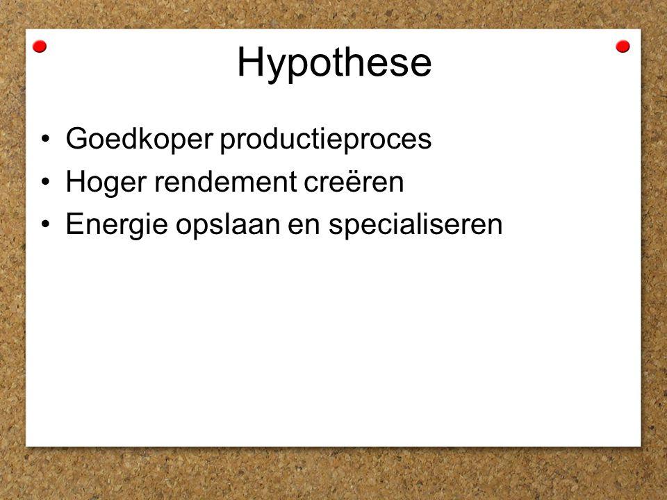 Hypothese Goedkoper productieproces Hoger rendement creëren