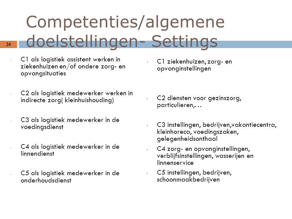 Competenties/algemene doelstellingen- Settings