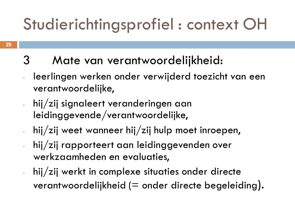 Studierichtingsprofiel : context OH