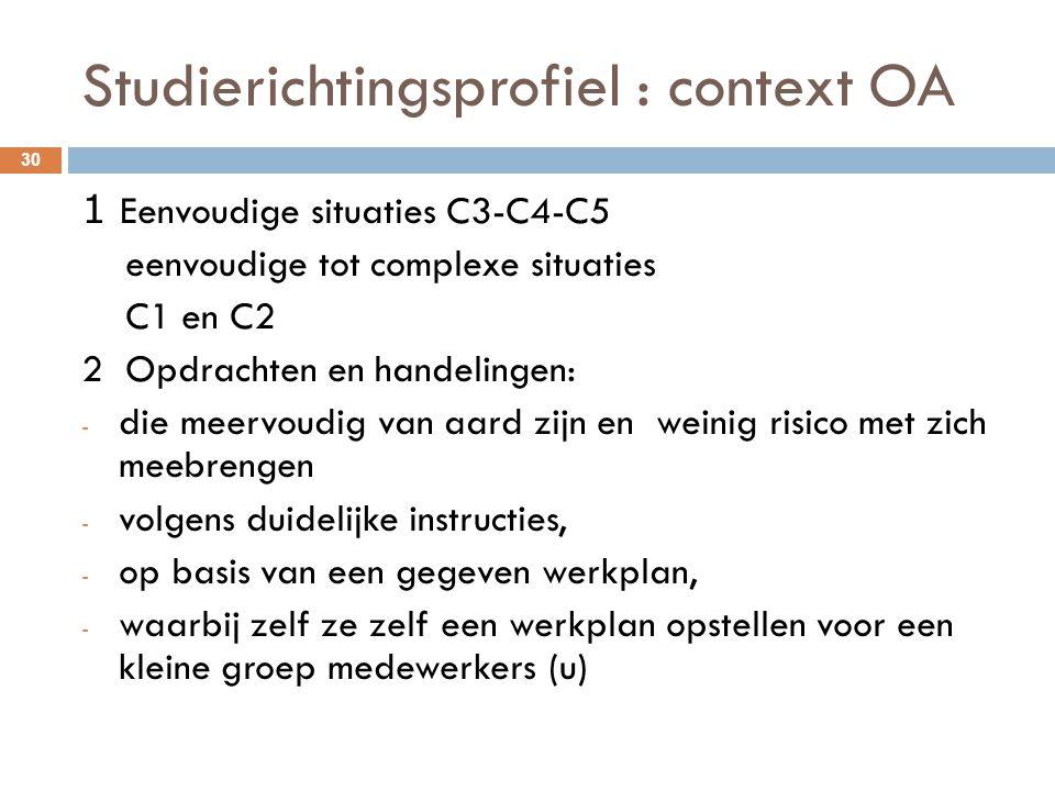 Studierichtingsprofiel : context OA