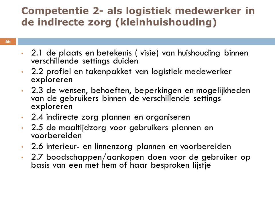 Competentie 2- als logistiek medewerker in de indirecte zorg (kleinhuishouding)
