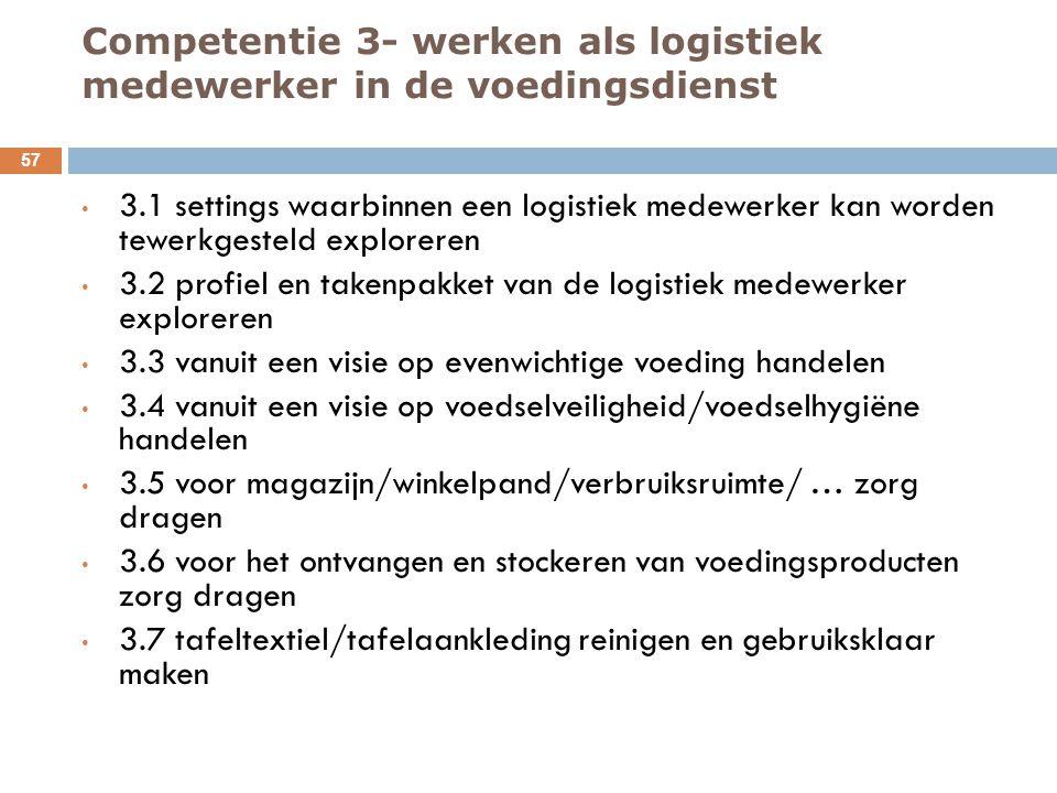 Competentie 3- werken als logistiek medewerker in de voedingsdienst