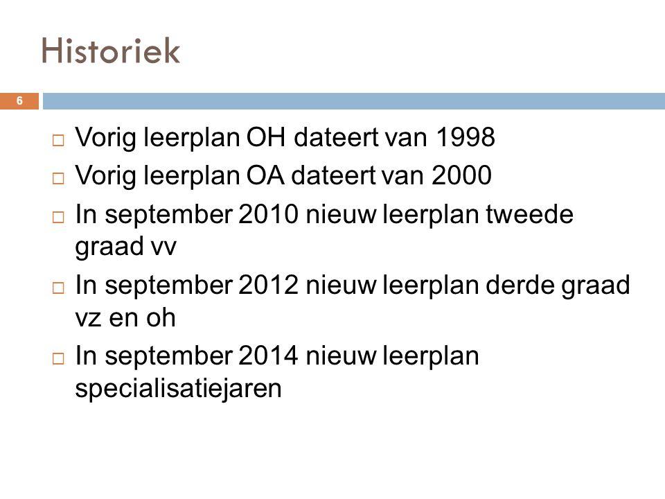 Historiek Vorig leerplan OH dateert van 1998