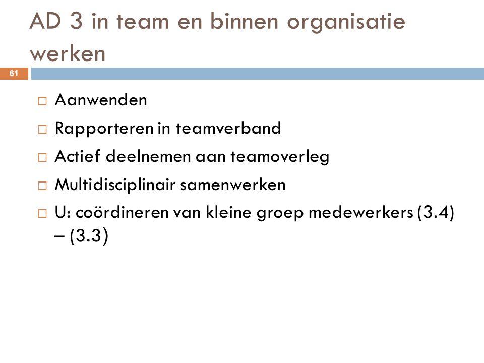 AD 3 in team en binnen organisatie werken