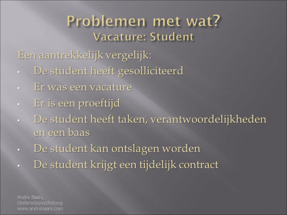 Problemen met wat Vacature: Student
