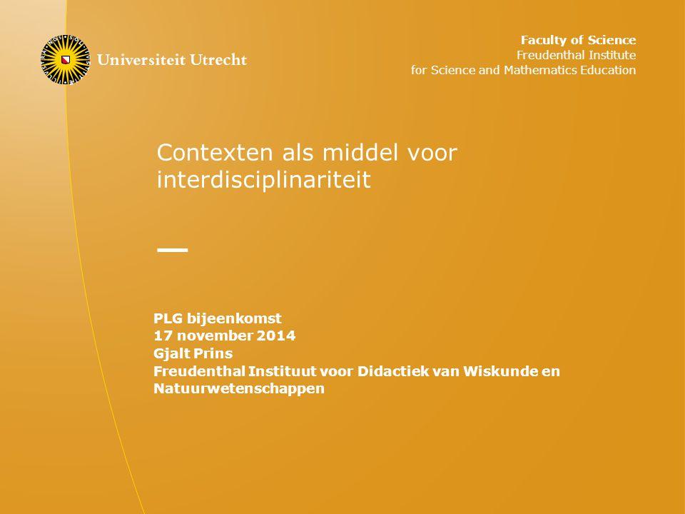 Contexten als middel voor interdisciplinariteit