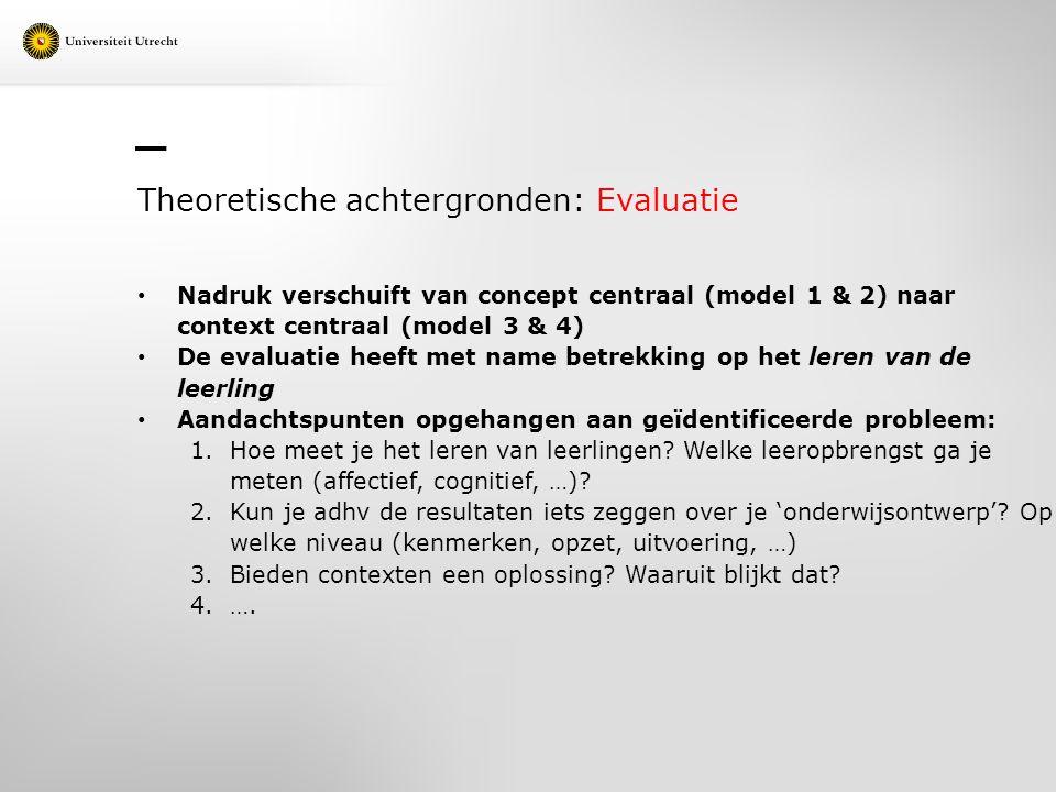 Theoretische achtergronden: Evaluatie