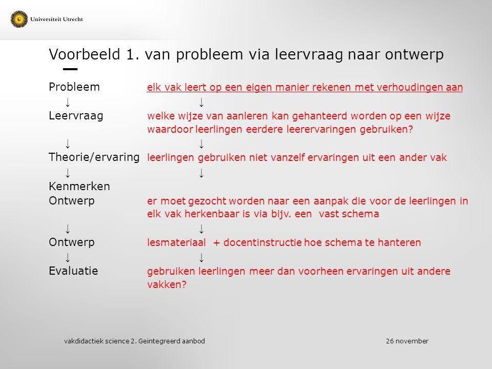 Voorbeeld 1. van probleem via leervraag naar ontwerp