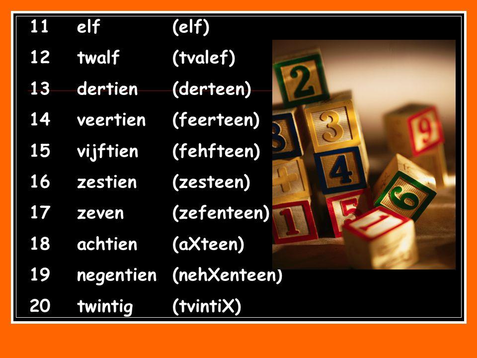 11 elf (elf) 12 twalf (tvalef) 13 dertien (derteen) 14 veertien (feerteen) 15 vijftien (fehfteen)