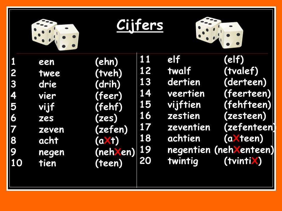 Cijfers 11 elf (elf) 1 een (ehn) 12 twalf (tvalef) 2 twee (tveh)