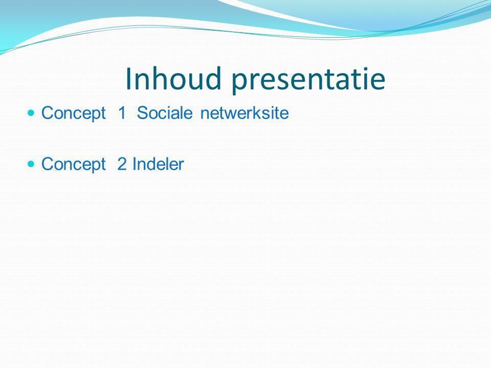 Inhoud presentatie Concept 1 Sociale netwerksite Concept 2 Indeler