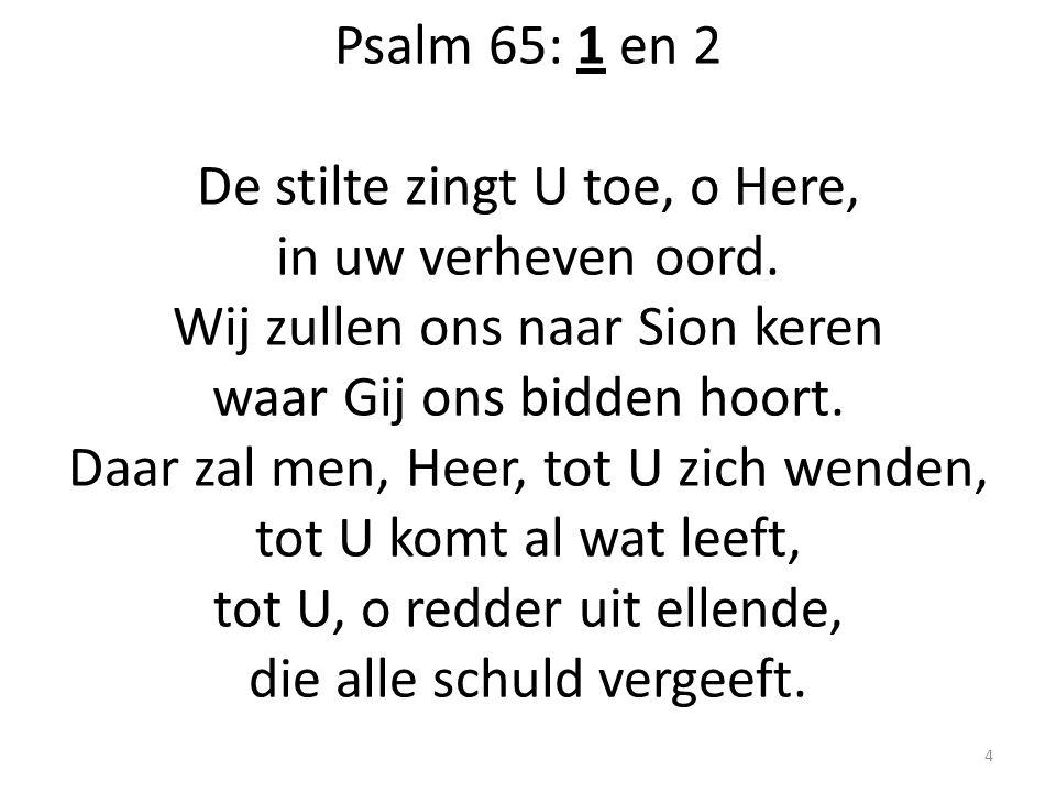 Psalm 65: 1 en 2 De stilte zingt U toe, o Here, in uw verheven oord