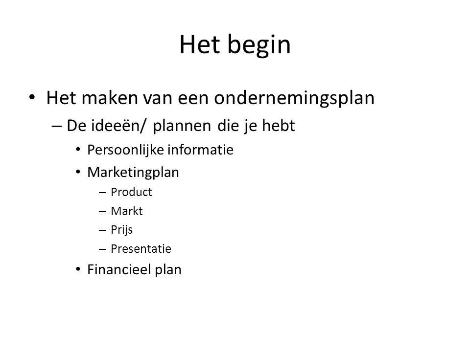 Het begin Het maken van een ondernemingsplan