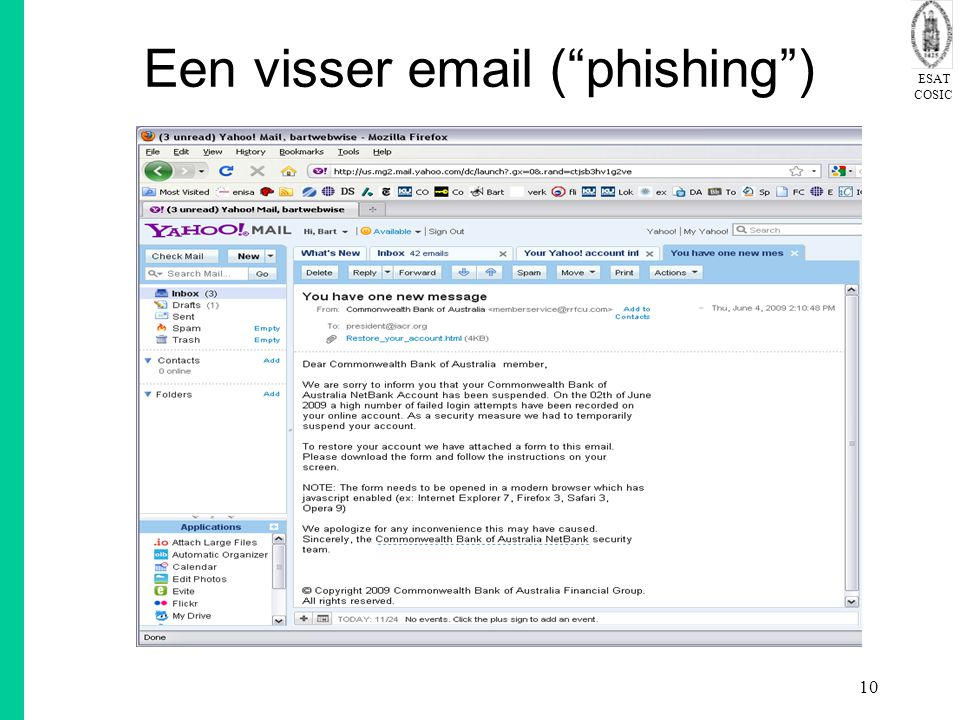 Een visser email ( phishing )