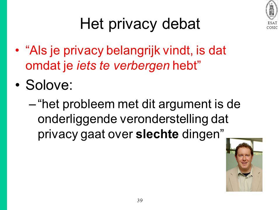 Het privacy debat Solove: