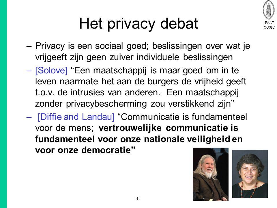 Het privacy debat Privacy is een sociaal goed; beslissingen over wat je vrijgeeft zijn geen zuiver individuele beslissingen.