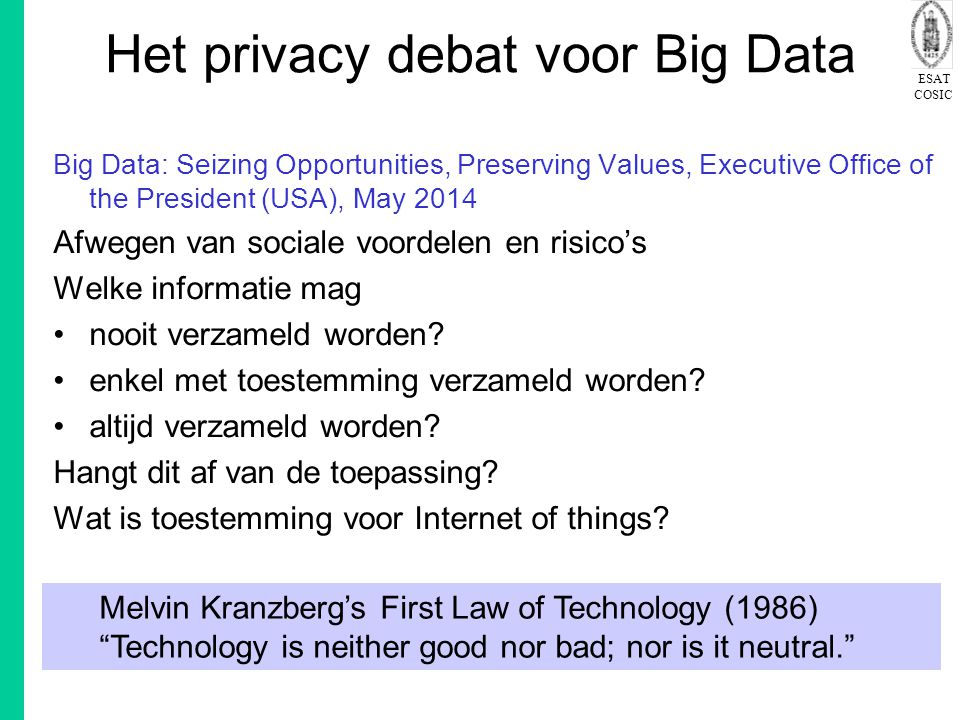 Het privacy debat voor Big Data