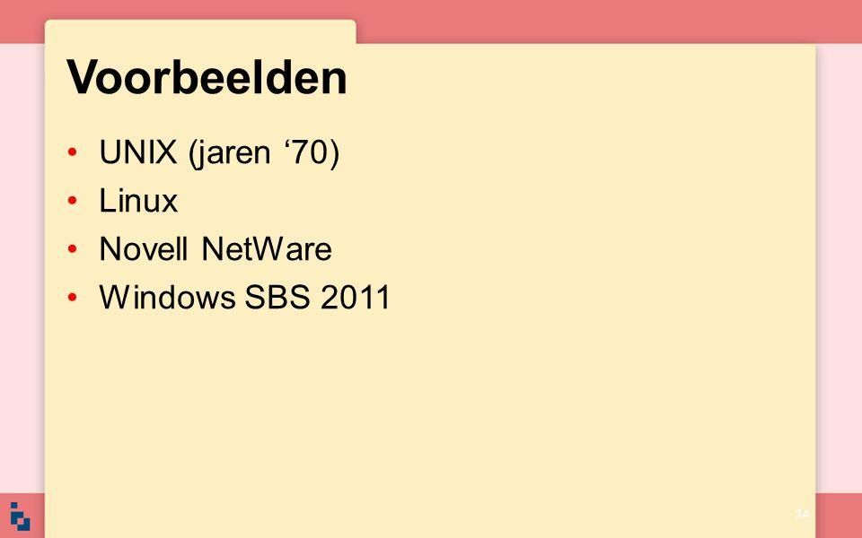 Voorbeelden UNIX (jaren '70) Linux Novell NetWare Windows SBS 2011
