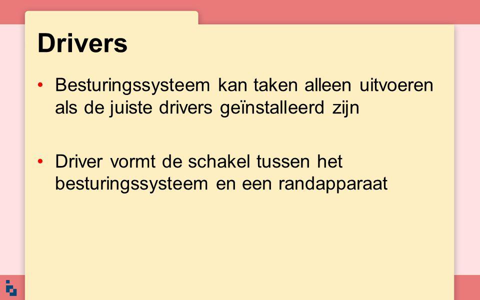 Drivers Besturingssysteem kan taken alleen uitvoeren als de juiste drivers geïnstalleerd zijn.
