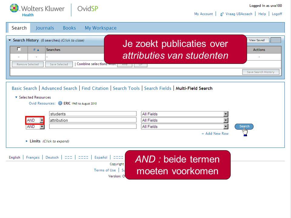 Je zoekt publicaties over attributies van studenten