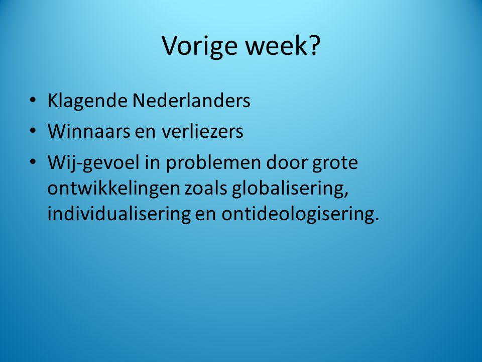 Vorige week Klagende Nederlanders Winnaars en verliezers