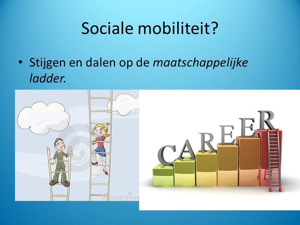 Sociale mobiliteit Stijgen en dalen op de maatschappelijke ladder.