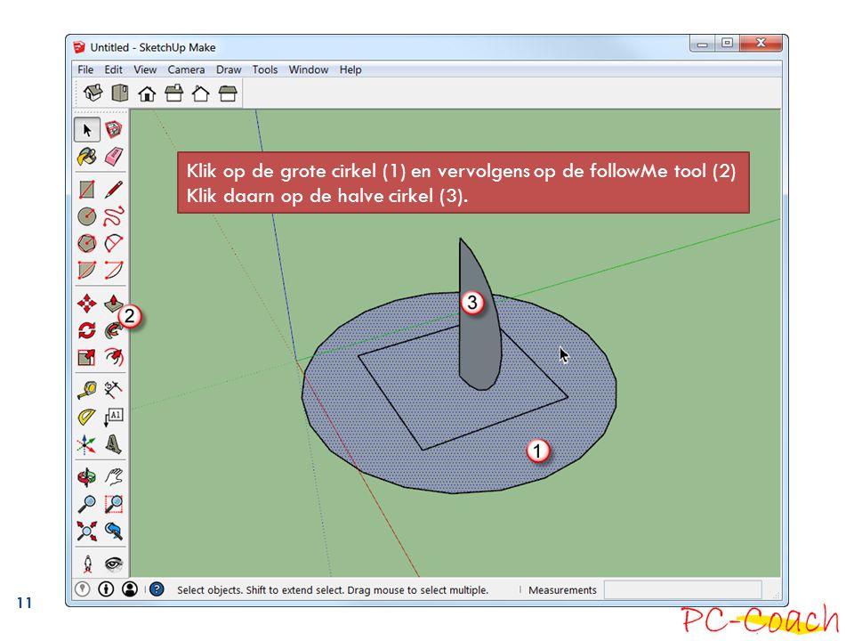 Klik op de grote cirkel (1) en vervolgens op de followMe tool (2)