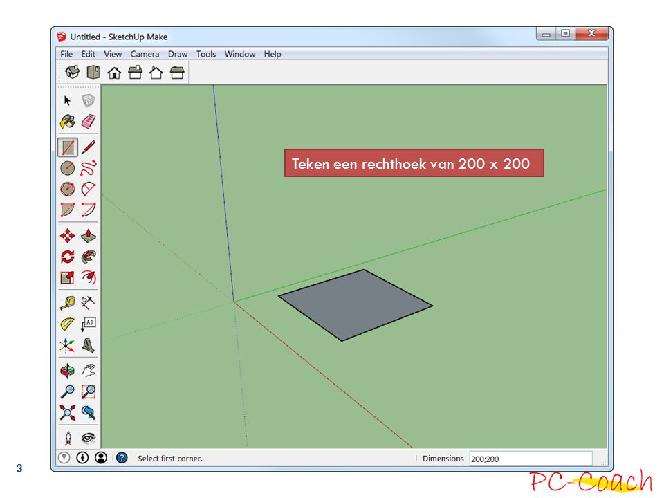 Teken een rechthoek van 200 x 200