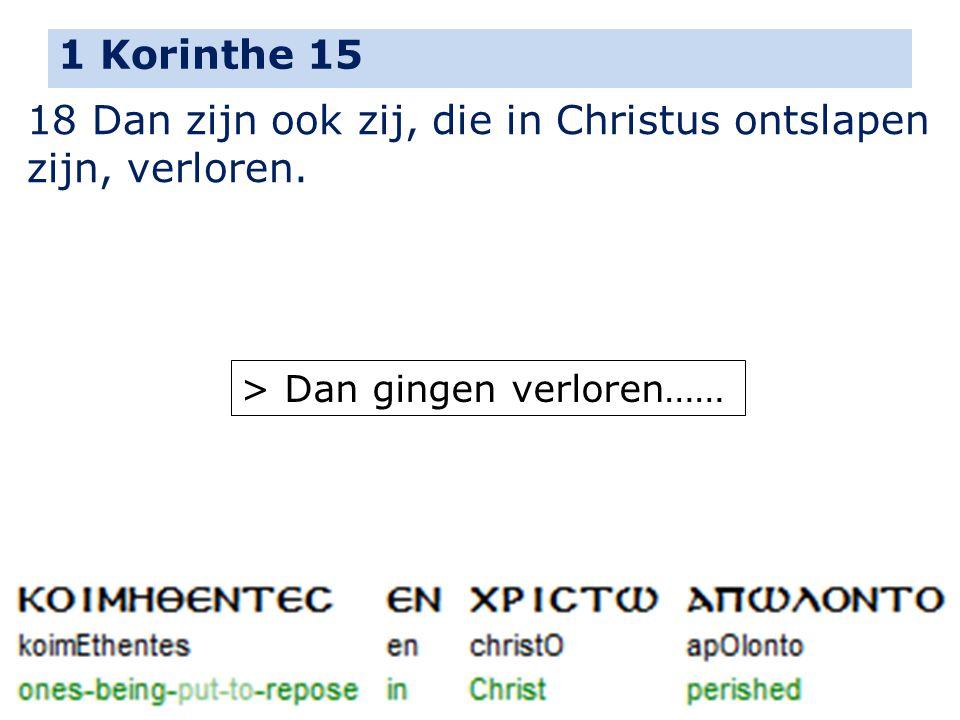 18 Dan zijn ook zij, die in Christus ontslapen zijn, verloren.