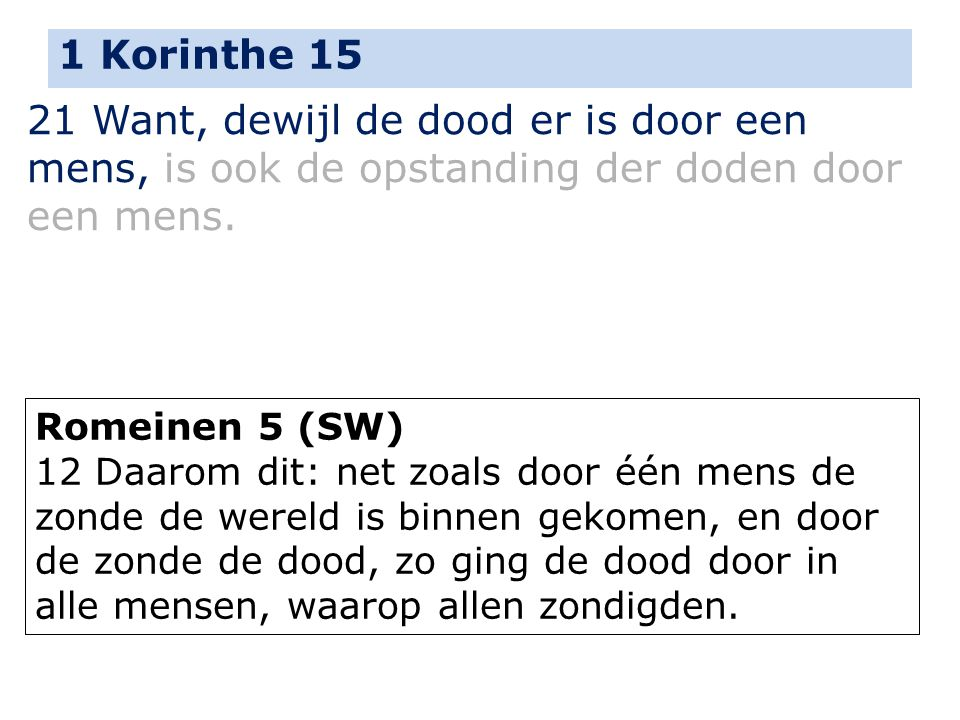 1 Korinthe 15 21 Want, dewijl de dood er is door een mens, is ook de opstanding der doden door een mens.