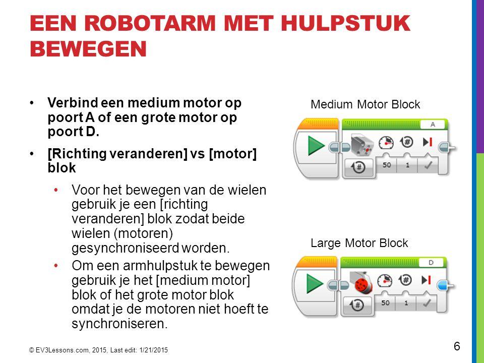 Een robotarm met hulpstuk bewegen