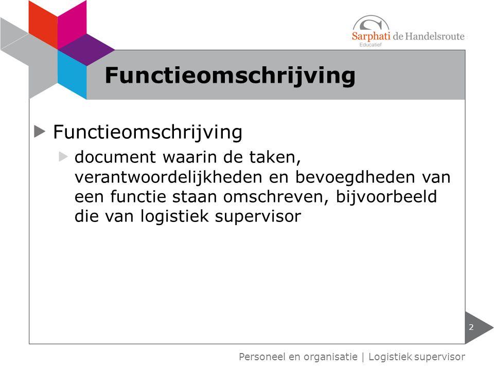 Functieomschrijving Functieomschrijving