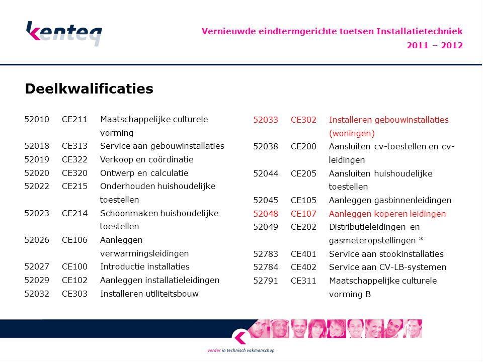 Vernieuwde eindtermgerichte toetsen Installatietechniek 2011 – 2012
